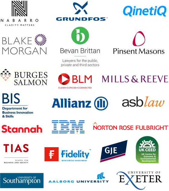 Blake Lapthorn, Grundfos, QinetiQ, IBM, Berrymans Lace Mawer, UK CEED, Norton Rose, Stannah, People Soft, BERR, Tias Nimbas